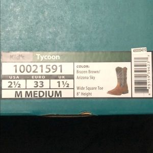 Ariat Kid/'s Brazen Brown Tycoon Square Toe Boots 10021591 SALE
